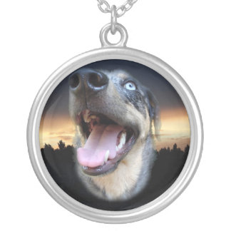 Catahoula Leopard Dog Sunset Silver Plated Necklace