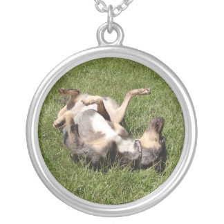 Catahoula Leopard Hog Dog Rolling in Grass Round Pendant Necklace