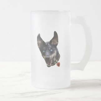 Catahoula Pawprint Dog Heart Frosted Glass Beer Mug