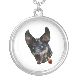 Catahoula Pawprint Dog Heart Round Pendant Necklace