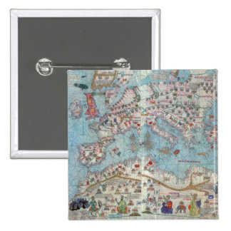 Catalan Atlas: Detail of North Africa and Europe, 2 Inch Square Button