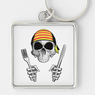 Catalan Chef 4 Silver-Colored Square Keychain