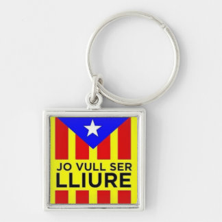 Catalan Estelada flag Silver-Colored Square Keychain