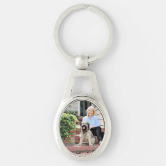 Catalan Sheepdog - Peppa Silver-Colored Oval Metal Keychain