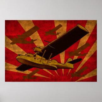 Catalina Flying Boat Sea Plane Retro Poster
