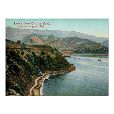 USA Themed Catalina Island, Lover's Cove, California Vintage Poster