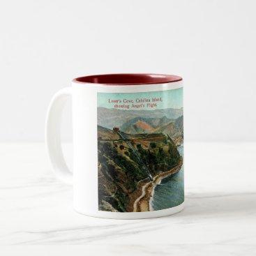USA Themed Catalina Island, Lover's Cove, California Vintage Two-Tone Coffee Mug