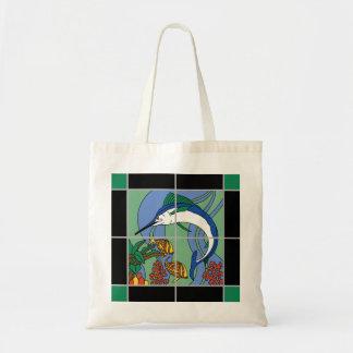 Catalina Island Tile Marlin Mural Budget Tote Bag