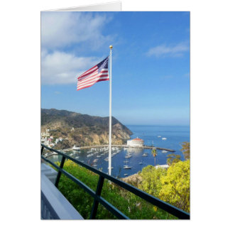 Catalina View from Inn at Mt. Ada with flag 2 Greeting Card