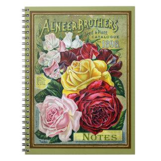 Catálogo de semilla subió col del vintage 1898 libro de apuntes