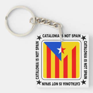 Catalonia independència Double-Sided square acrylic keychain