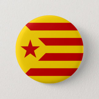 Catalonia Red Starred Flag Pinback Button