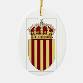 Catalonia (Spain) Coat of Arms Double-Sided Oval Ceramic Christmas Ornament