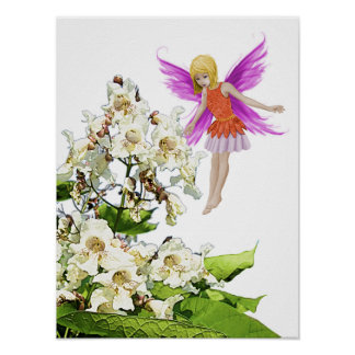 Catalpa Tree Fairy beside Flowers Poster