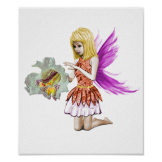 Catalpa Tree Fairy with Flower Poster