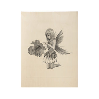 Catalpa Tree Fairy with Flower Wood Poster