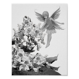 Catalpa Tree Fairy with Flowers Poster