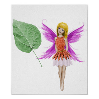 Catalpa Tree Fairy with Leaf Poster