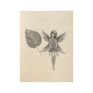 Catalpa Tree Fairy with Leaf Wood Poster