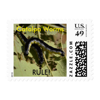 Catalpa Worms Rule! Postage