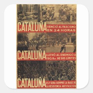 Cataluna Fascism defeated_Propaganda Poster Square Sticker