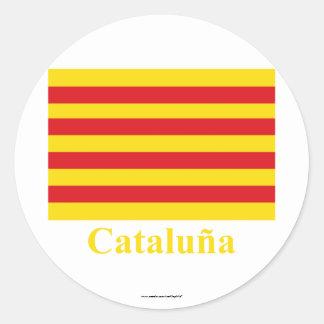 Cataluña flag with name round sticker