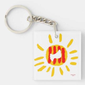 Catalunya Sun, símbolo patriótico, Cataluña Llavero Cuadrado Acrílico A Doble Cara