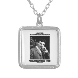 Catalyst For Second Industrial Revolution N. Tesla Square Pendant Necklace