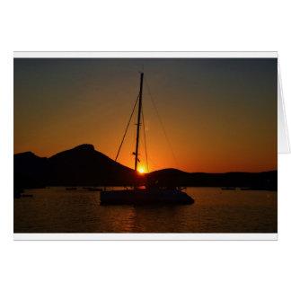 Catamaran at sunset Ibiza.JPG Card