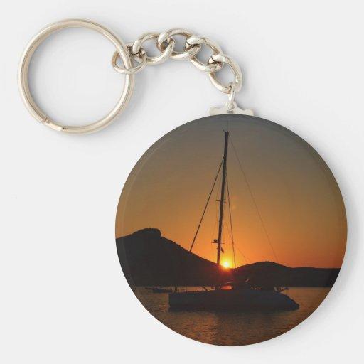 Catamaran at sunset Ibiza.JPG Keychain