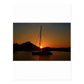 Catamaran at sunset Ibiza.JPG Postcard