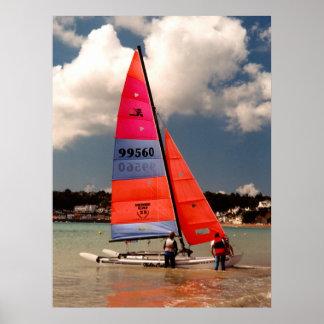 Catamarán de Hobie listo para navegar Poster