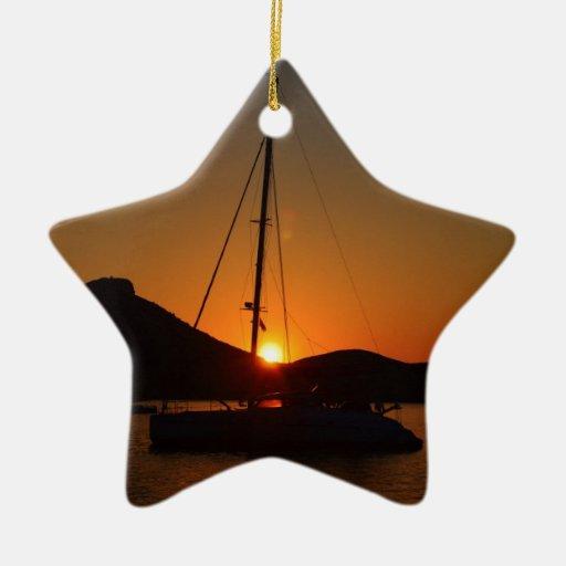 Catamarán en la puesta del sol Ibiza.JPG Adorno Navideño De Cerámica En Forma De Estrella