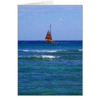 Catamarán hawaiano tarjeta de felicitación