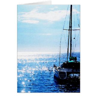 Catamaran in Beautiful Dominica Waters Card