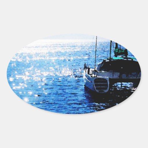 Catamaran in Beautiful Dominica Waters Oval Sticker