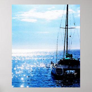Catamaran in Beautiful Dominica Waters Poster