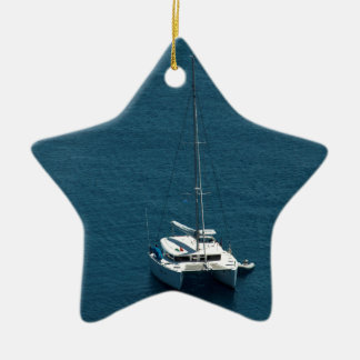 Catamaran moored offshore ceramic ornament