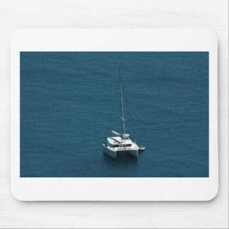 Catamaran moored offshore mouse pad
