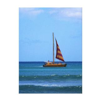 Catamaran off Waikiki Beach Canvas Print