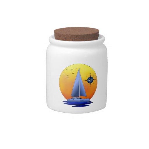 Catamaran Sailboat And Compass Rose Candy Dishes