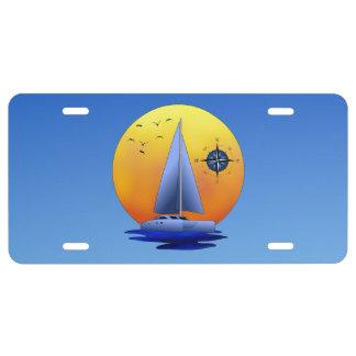 Catamaran Sailboat And Compass Rose License Plate
