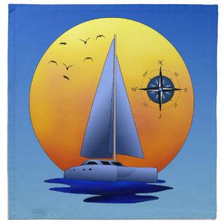 Catamaran Sailboat And Compass Rose Napkin