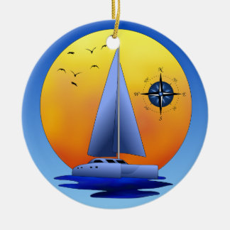 Catamaran Sailboat And Compass Rose Double-Sided Ceramic Round Christmas Ornament