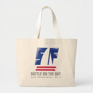 Catamaran Sailing_Battle on the Bay_San Francisco Large Tote Bag