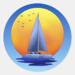 Catamaran Sailing Classic Round Sticker