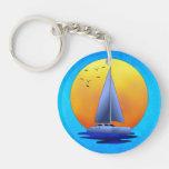 Catamaran Sailing Double-Sided Round Acrylic Keychain