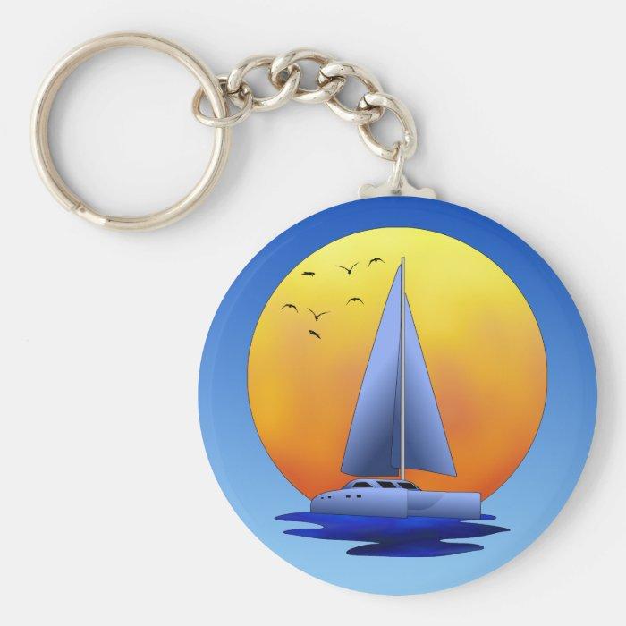Catamaran Sailing Keychain