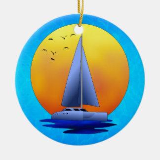 Catamaran Sailing Double-Sided Ceramic Round Christmas Ornament
