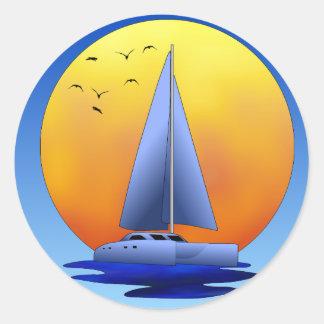 Catamaran Sailing Round Sticker